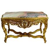 Large Rococo Style Carved and Giltwood Center Table