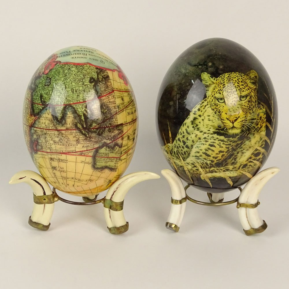 Pair of South African Decoupage Ostrich Eggs on Boar