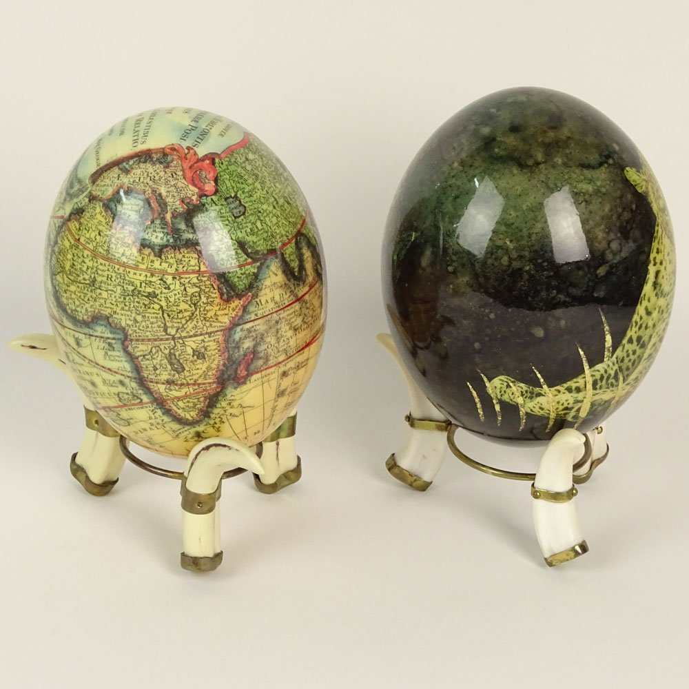 Pair of South African Decoupage Ostrich Eggs on Boar - 2
