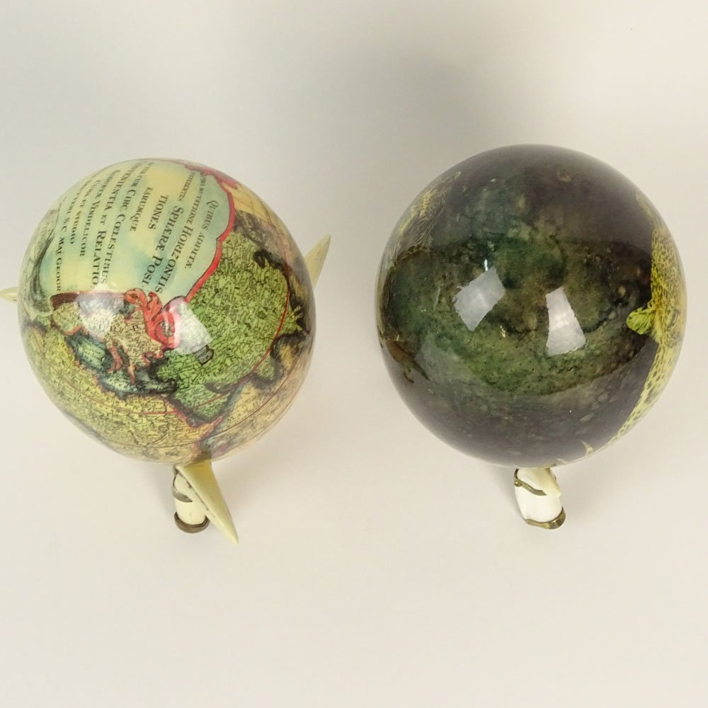 Pair of South African Decoupage Ostrich Eggs on Boar - 3