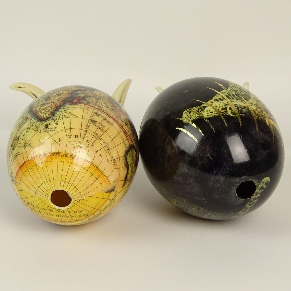 Pair of South African Decoupage Ostrich Eggs on Boar - 4