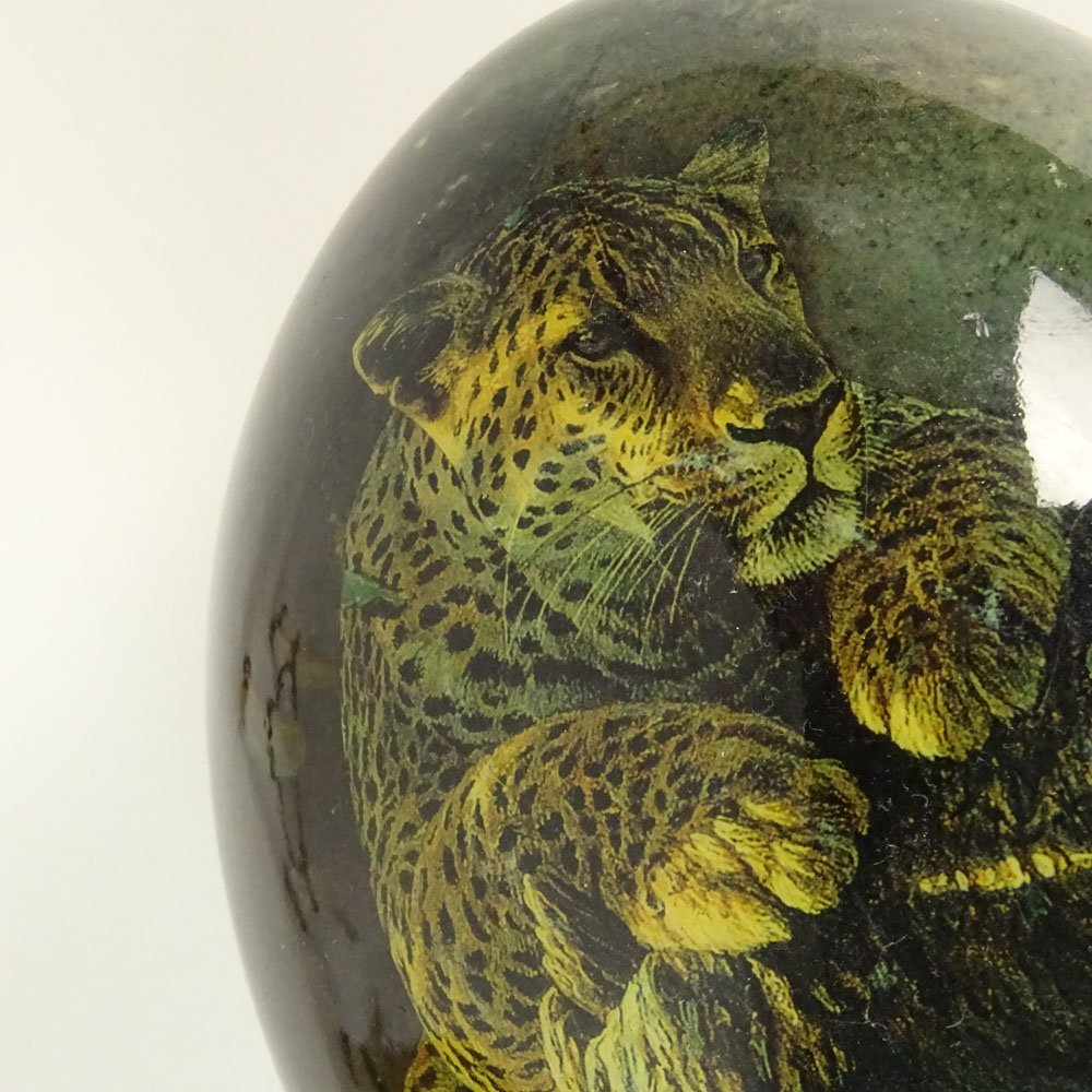 Pair of South African Decoupage Ostrich Eggs on Boar - 6