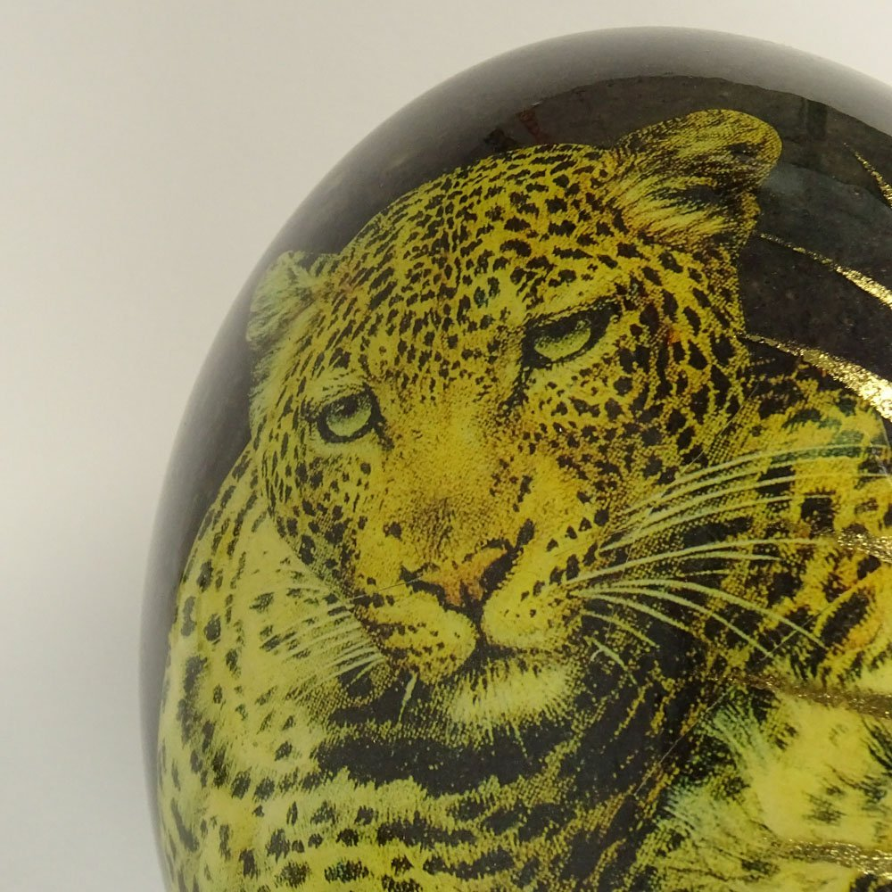 Pair of South African Decoupage Ostrich Eggs on Boar - 7