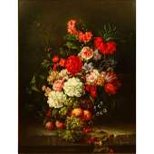 Contemporary Oil on Canvas Still Life with Flowers