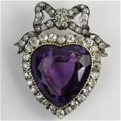 Antique Victorian Heart Shape Amethyst, European and