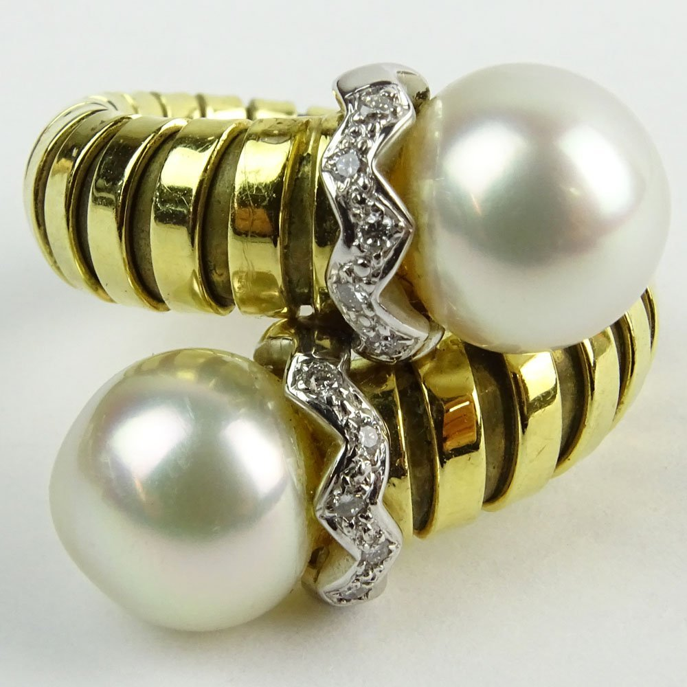 Vintage Bulgari style 18 Karat Yellow Gold, Pearl and