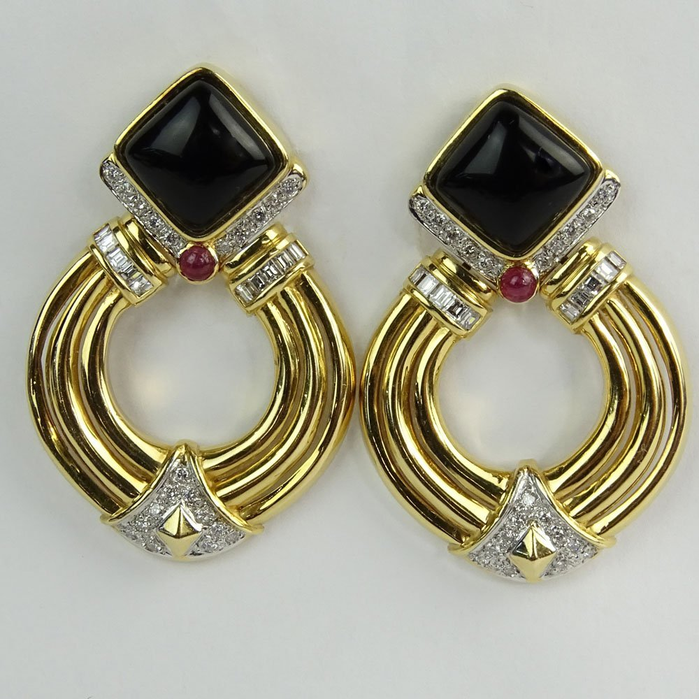 Vintage 14 Karat Yellow Gold, Diamond, Onyx and Ruby