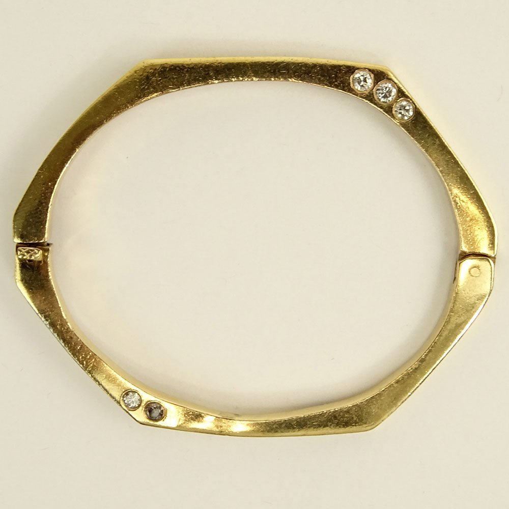Vintage 14 Karat Yellow Gold Bangle Bracelet accented