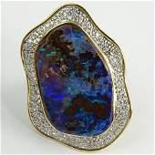 Large Black Opal, Pave Set Round Cut Diamond, Platinum