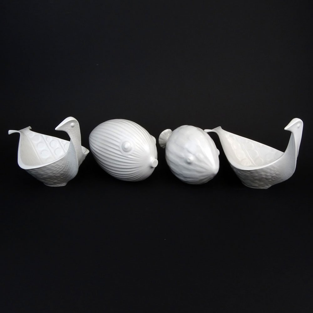 Lot of Four (4) Jonathan Adler White Pottery Decorative