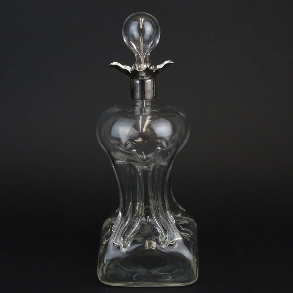 Late 19th Century English Blown Pinched Glass Decanter
