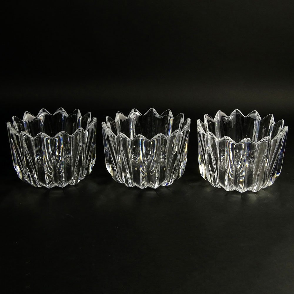 Set of Three (3) Orrefors Ribbed Crystal Vases. Signed