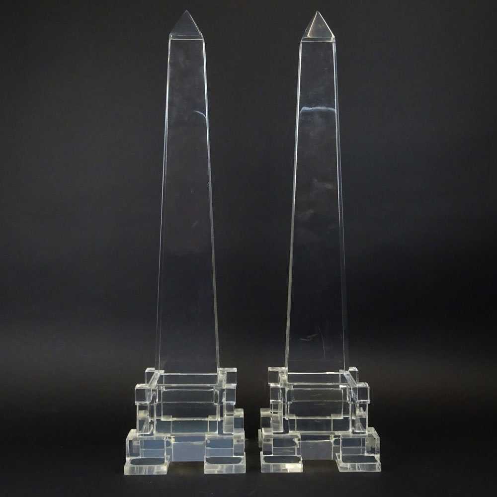 Attributed to: Charles Hollis Jones pair of Lucite