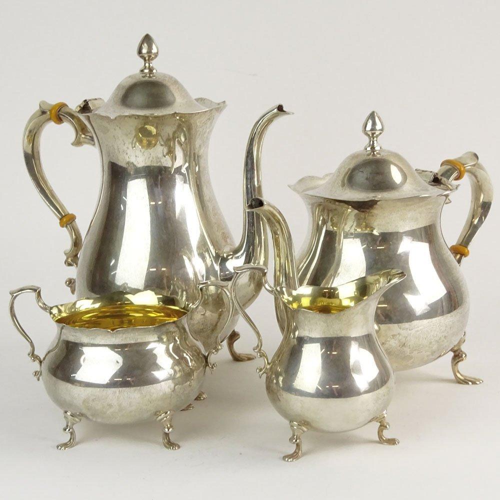 Vintage Poole Sterling Silver Four (4) Piece Tea Set.