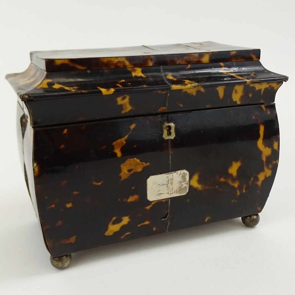 Antique English Tortoiseshell Tea Caddy. Two