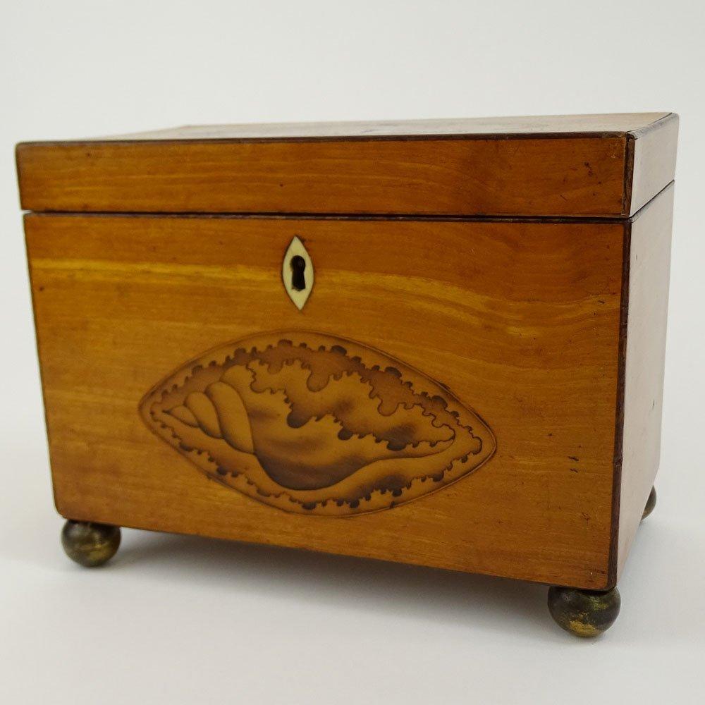 Antique English Satinwood and Boxwood Inlay Shell Motif