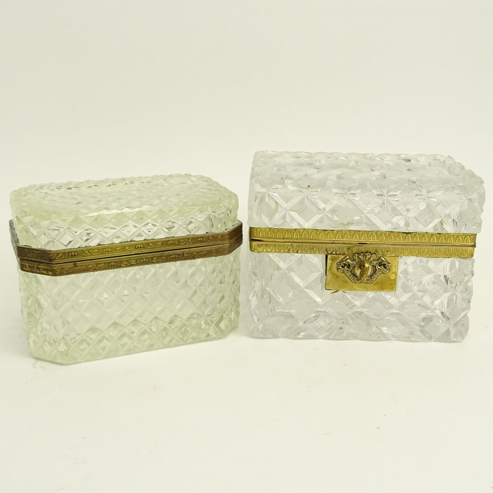 Pair of Antique Cut Crystal Sugar Caskets. Both with