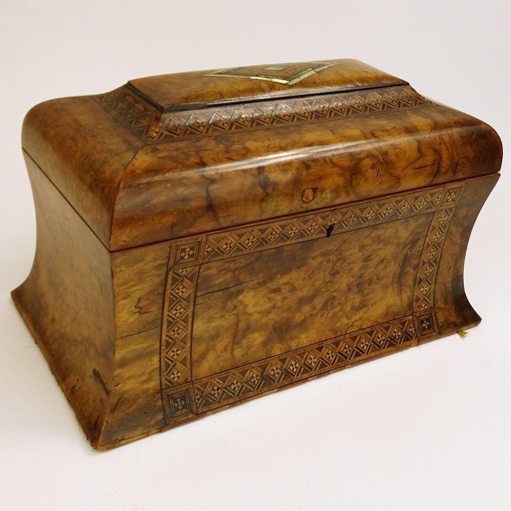 Antique English Burl Wood Tea Caddy with inlaid
