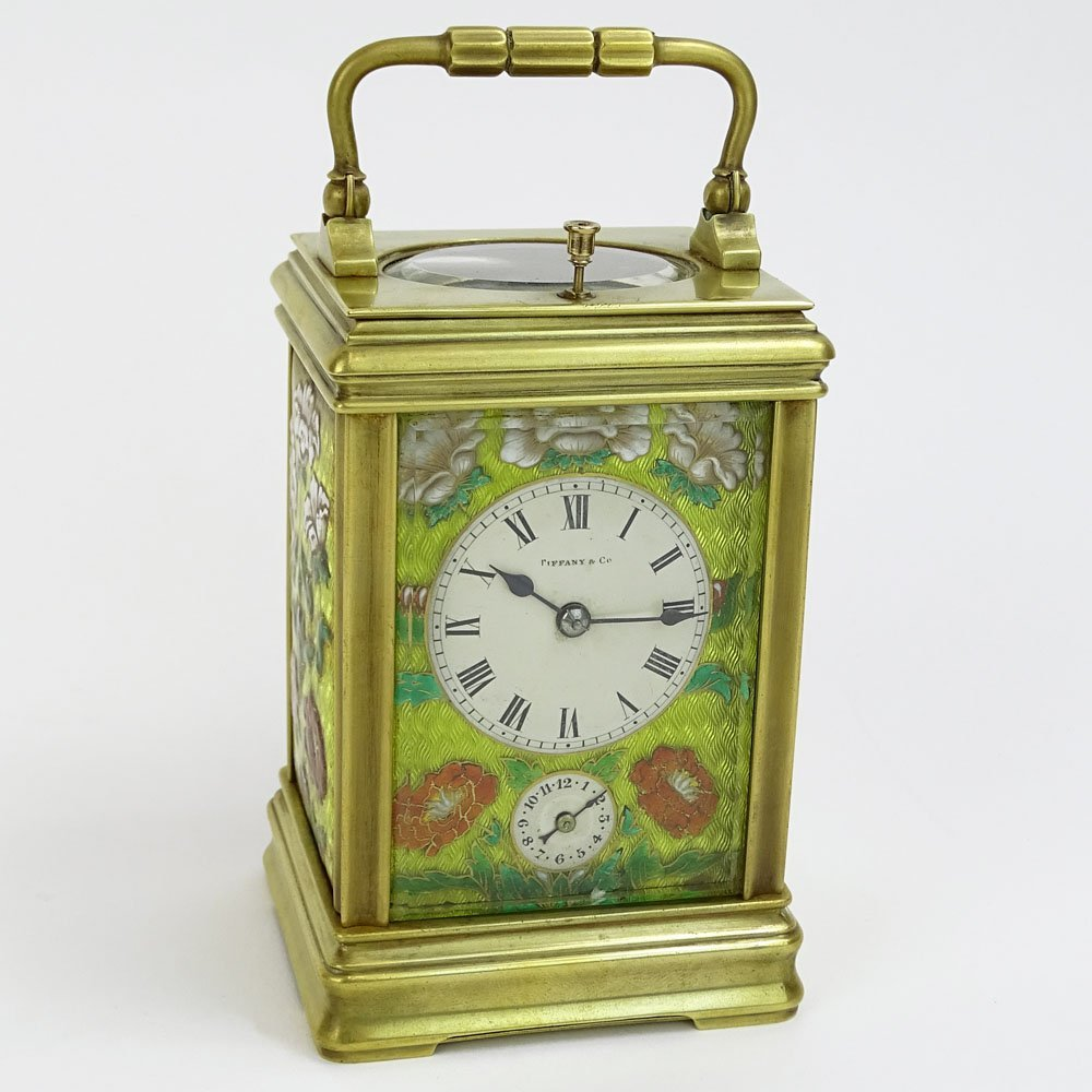 Tiffany & Co. Enamel and Brass Repeater Carriage
