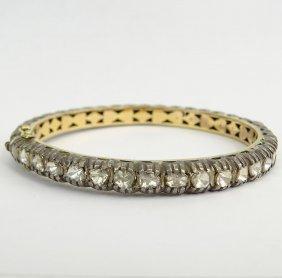 14 Karat Yellow Gold, Silver And Diamond Bangle