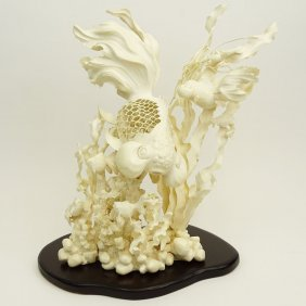 Large Chinese Carved Ivory Group With Wood Base,