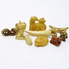 Collection Mid 20th Century Japanese Carved Ivory