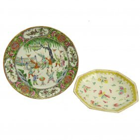 Lot Of Two (2) Antique Chinese Export Porcelain Dishes.