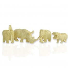 Collection Of Four (4) Carved Ivory Animal Figures.
