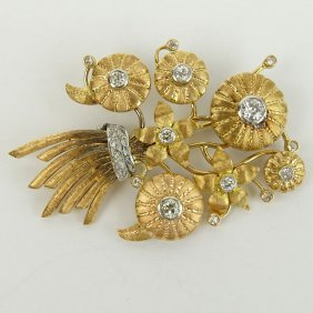 Antique 14 Karat Yellow Gold Stickpin Brooch Set With