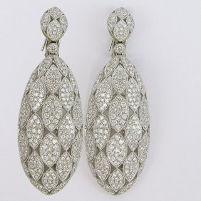 Diamond And 18 Karat White Gold Dangle Earrings Set