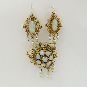Three Piece Vintage 14 Karat Yellow Gold, Opal And Seed