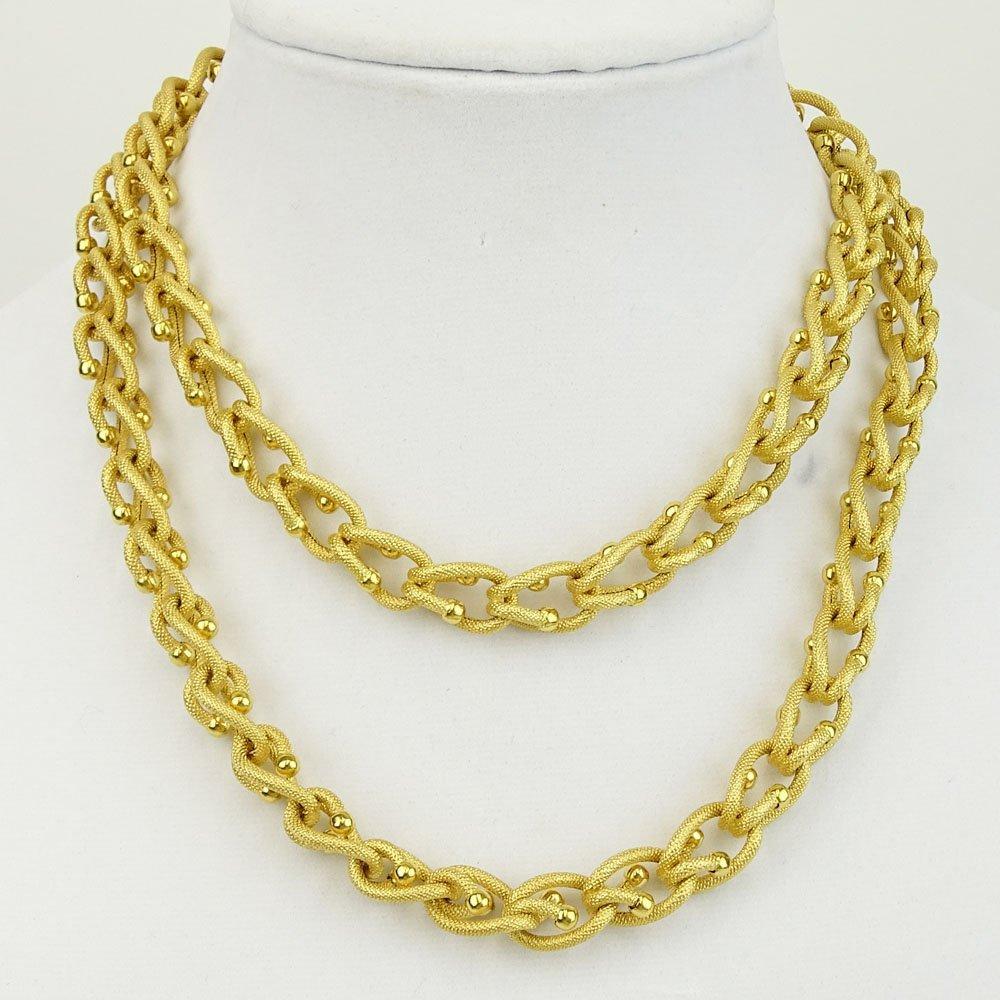 Vintage Long 14 Karat Yellow Gold Necklace. Signed