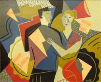 Helene Riedel, German (1901 - ) Oil and Collage on