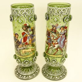 Pair Of Impressive Enameled Bohemian Glass Footed