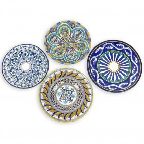 Collection Of Four (4) Majolica Chargers. Various