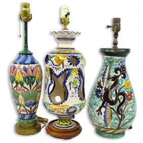 Lot Of Three (3) Vintage Majolica Pottery Lamps.
