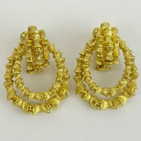 Pair Of Vintage 14 Karat Yellow Gold Door Knocker Style