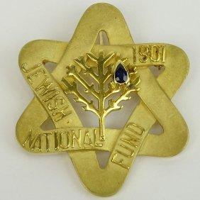 Vintage 14 Karat Yellow Gold Jewish National Fund Star