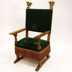 19th Century Italian Renaissance Style Walnut Armchair