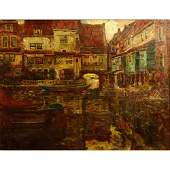 1920th Century Italian School Oil on Canvas Venice