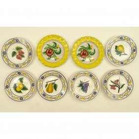 Collection Of Eight (8) Italian Majolica Pottery Fruit