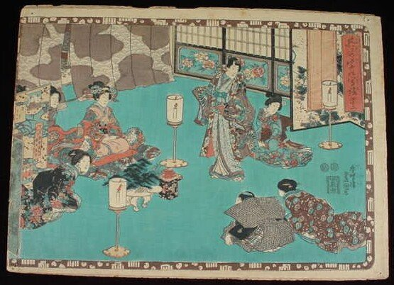4: The Tale of Genji Woodblock Print. Chapter 42 Series
