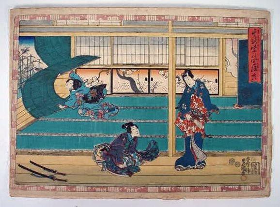 9: The Tale of Genji Woodblock Print. Series: Faithful