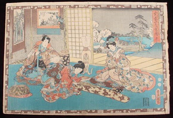 12: The Tale of Genji Woodblock Print. Series: Faithful