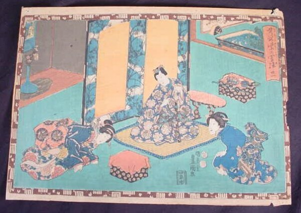16: The Tale of Genji Woodblock Print. Series: Faithful