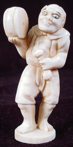 21: 19th Century Carved Ivory Netsuke. Unsigned. Oni Ho