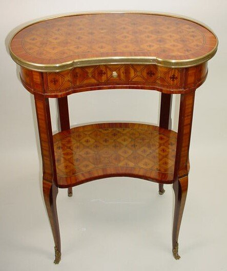 310: Early 20th Century Two-Tier French Kidney Shape Ta