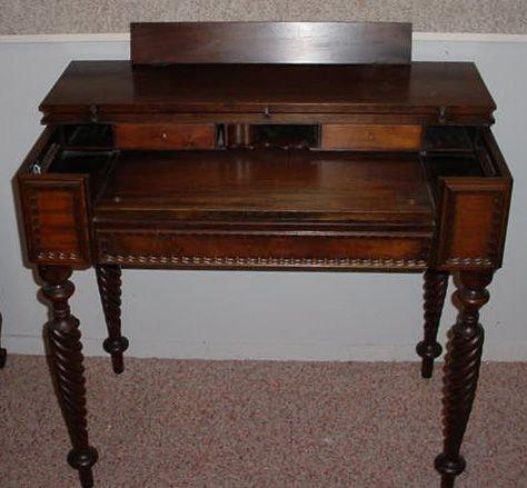 391f Antique Spindle Leg Flip Top Desk With Ink Wells