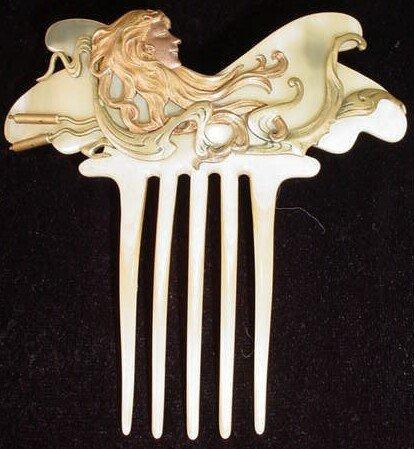 617: Unusual Art Nouveau Lalique Style Antler/Horn Hair