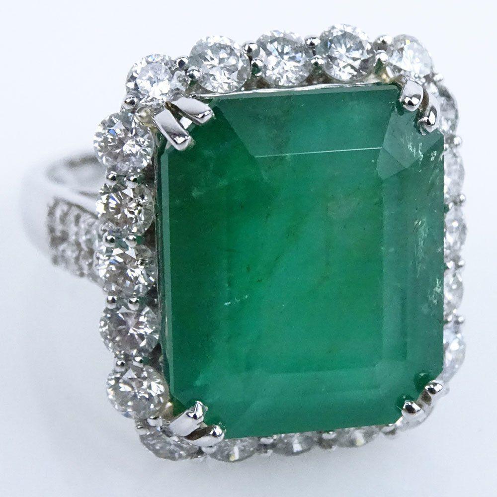 AIG Certified 15.59 Carat Rectangular Step Cut Emerald,